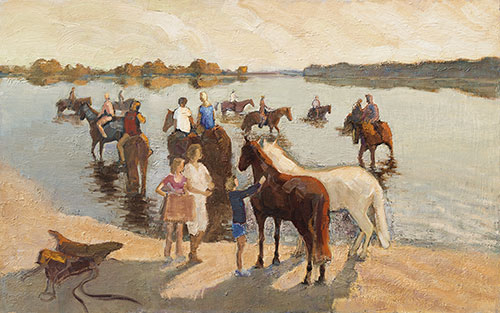 The painter Aleksei Demchenko. Artwork Picture Painting Canvas Composition. Bathing of horses. 2011, 73 x 115 cm, oil on canvas