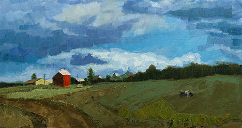 The painter Aleksei Demchenko. Artwork Picture Painting Canvas Landscape. After a rain. Rainy day. A landscape with a cow. 2009, 27 x 50 cm, oil on cardboard