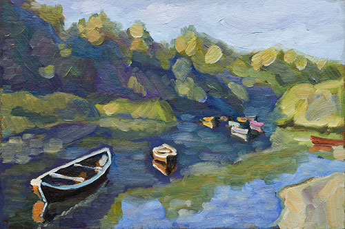 The painter Aleksei Demchenko. Artwork Picture Painting Canvas Landscape. Boats awake. In the morning the boats in the creek. 2010, 25 x 37 cm, oil on cardboard
