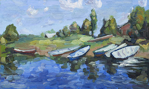 The painter Aleksei Demchenko. Artwork Picture Painting Canvas Landscape. Boats wait. Boats that are drawn up to the river bank. 2010, 24 x 39 cm, oil on cardboard