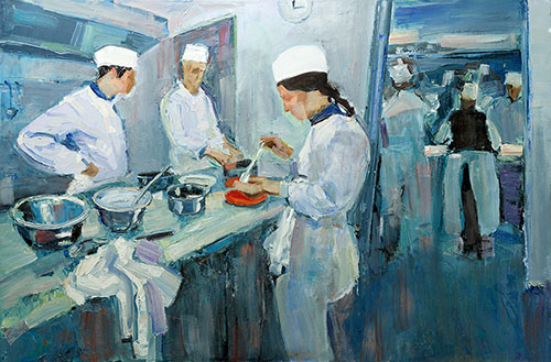 The painter Aleksei Demchenko. Artwork Picture Painting Canvas Composition. In the kitchen. Study. 2011, 60 x 90 cm, oil on canvas