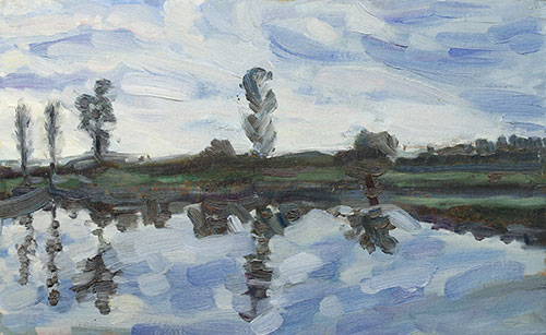 The painter Aleksei Demchenko. Artwork Picture Painting Canvas Landscape. Reflection of wind. A study of clouds in windy weather. 2010, 24 x 40 cm, oil on cardboard