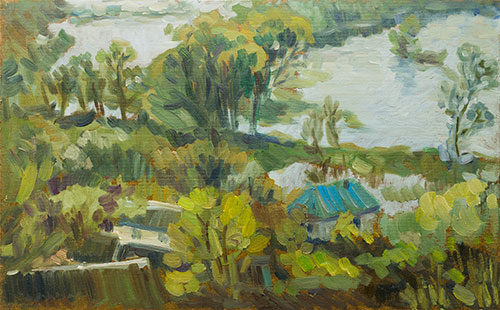 The painter Aleksei Demchenko. Artwork Picture Painting Canvas Landscape. Spring tide. 2010, 31 x 50 cm, oil on cardboard
