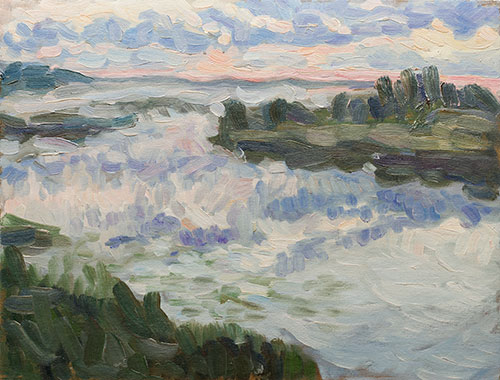 The painter Aleksei Demchenko. Artwork Picture Painting Canvas Landscape. The sky early in the morning. A study reflection of the sky early in the morning. 2010, 29 x 37 cm, oil on cardboard