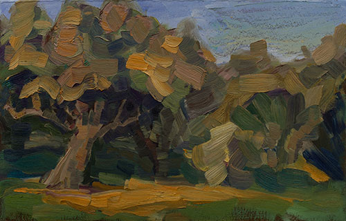 The painter Aleksei Demchenko. Artwork Picture Painting Canvas Landscape. The sun and the oak. 2010, 25 x 40 cm, oil on cardboard